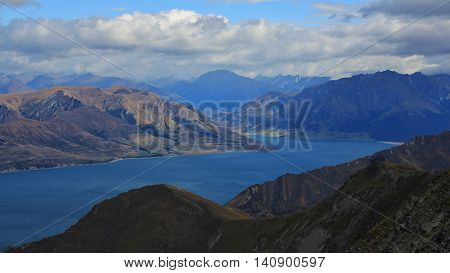 View from Breast Hill Otago. Lake Hawea and mountains. Landscape in New Zealand.