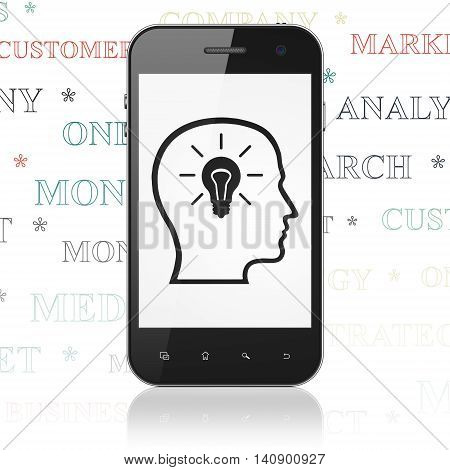 Advertising concept: Smartphone with  black Head With Lightbulb icon on display,  Tag Cloud background, 3D rendering