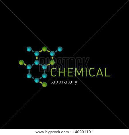 Chemical laboratory logo on a blackbackground. Laboratory identity, atom logos, cells