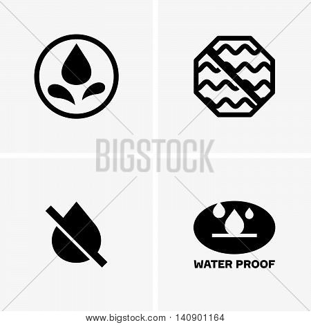Set of four waterproof symbols on light grey background