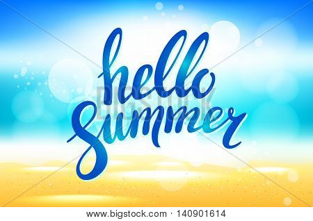 Vector Hello Summer Background. Hello Summer Vector Illustration On Blurred Background With Sun Rays