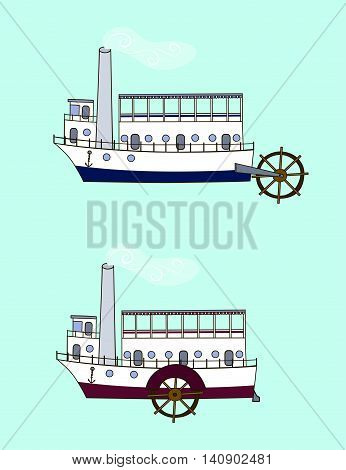 Cartoon steamer in retro style with different positions of the water wheel (side back). Old steamboat on a blue background. Hand drawn vector illustration.
