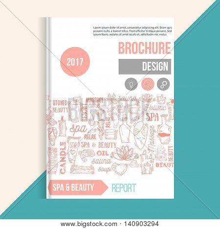 Wellness Spa brochure template with hand drawn lettering and doodle elements. Can be used for greeting cards, banners, patterns
