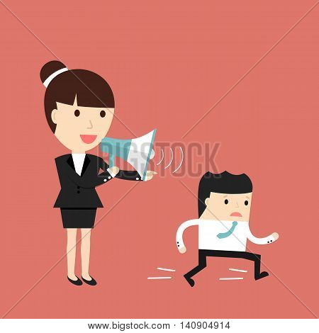 Business situation. Businesswoman commanding officers into a megaphone. Employees run work. Vector illustration.