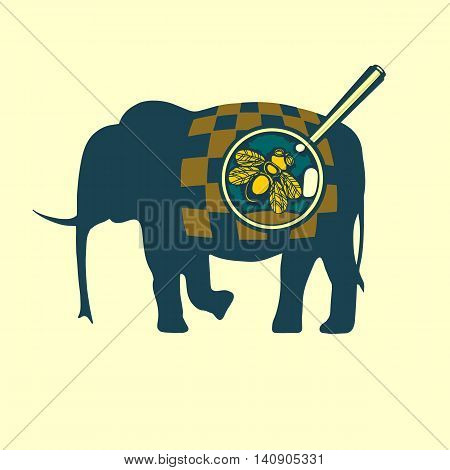 Fly on the elephant. Cute funny vector illustration for web design or printing