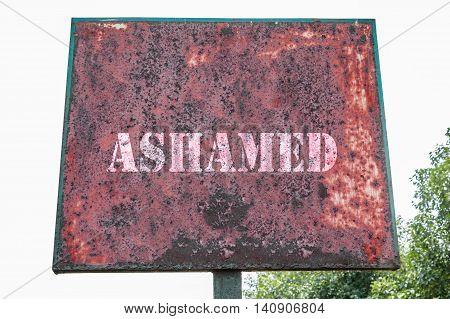 Ashamed Texte Message On Display