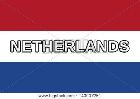 Illustration of the national flag of The Netherlands with the word Netherlands written on the flag