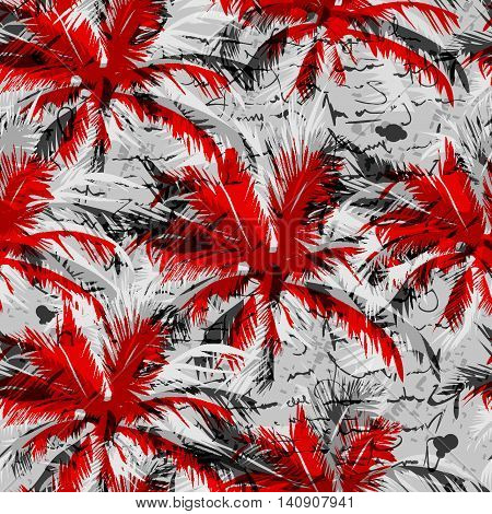 seamless pattern in which red, black and white palms against the background that mimics handwriting