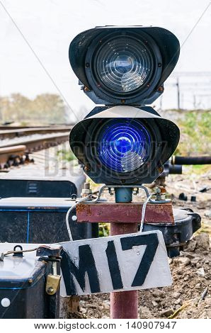traffic light on the old railway line.
