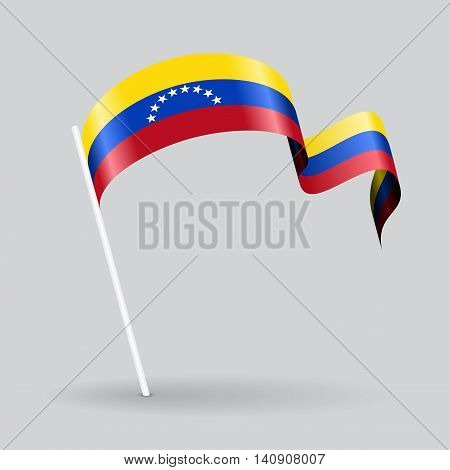 Venezuelan pin icon wavy flag. Vector illustration.