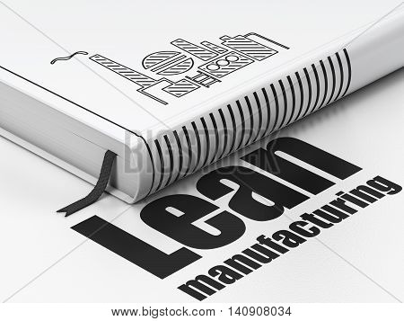 Manufacuring concept: closed book with Black Oil And Gas Indusry icon and text Lean Manufacturing on floor, white background, 3D rendering