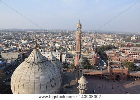Aerial view of old Delhi from a minar of Jama Masjid mosque, Delhi, India