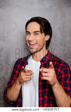 Cheerful Happy Man Gesticulate With Fingers And Smiling