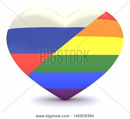 Russian Flag with Gay Pride Rainbow Flag Heart 3d illustration