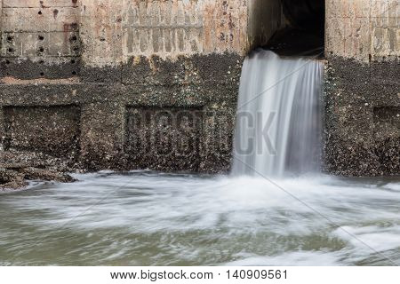 Water Flowing From Drain To River