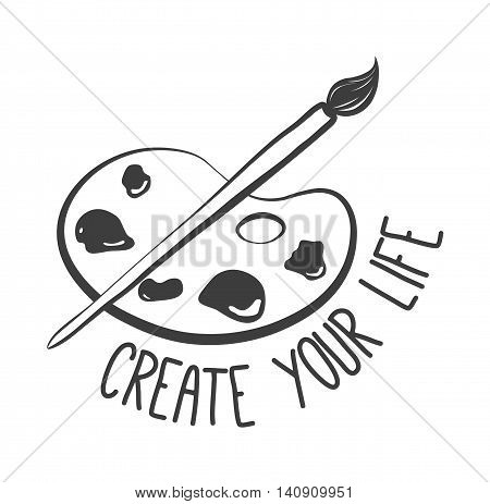 Create your life. Palette with paints and brush isolated on white background. Vector illustration.