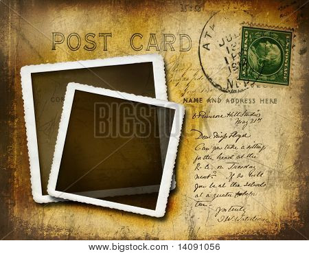 Vintage postcard with grungy background effect