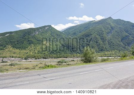 Georgian military road near village of  Chmi, Republic of North Ossetia-Alania.The valley of the river Terek