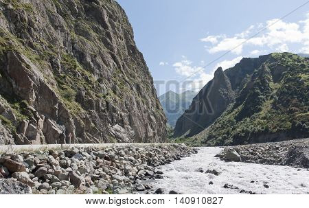 Dariali gorge.The Terek river and Georgian Military road connecting Georgia and Russia