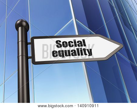 Political concept: sign Social Equality on Building background, 3D rendering