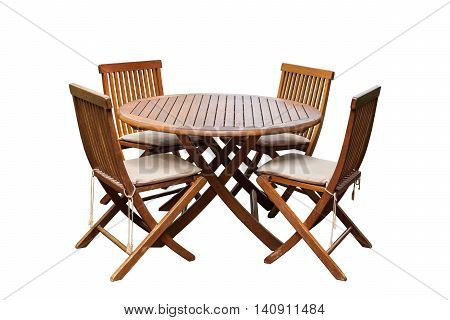 Teak Wood Table And Chairs Isolated On White Background. Saved With Clipping Path