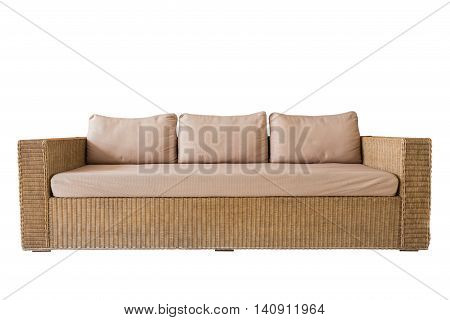 Rattan Sofa With Grey Cushions Isolated On White. Saved With Clipping Path