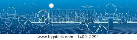 Radars in the woods, communication and technology illustration, weather station, night skyline, neon city, urban scene, vector design art