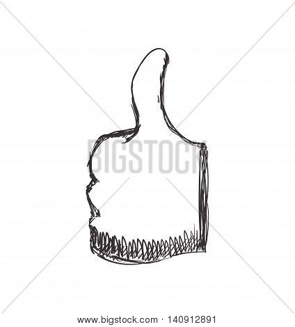 Gesture concept represented by human hand thumbs up icon. Isolated and flat illustration