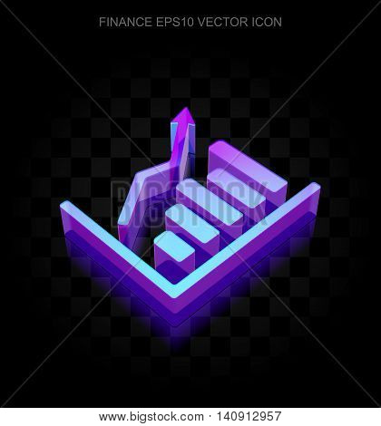 Finance icon: 3d neon glowing Growth Graph made of glass with transparent shadow on black background, EPS 10 vector illustration.