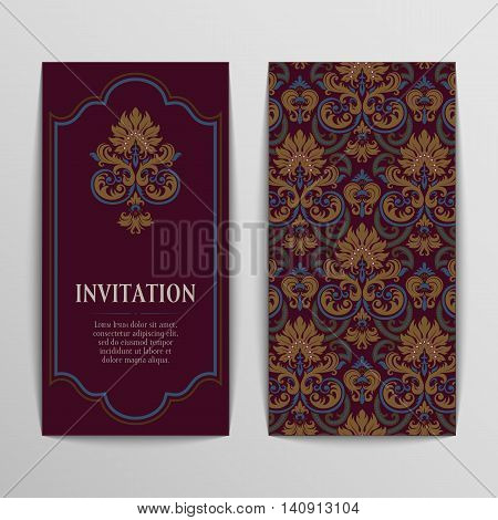 set of antique greeting cards, invitation with victorian ornaments, beautiful, luxury postcards