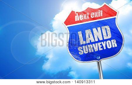 land surveyor, 3D rendering, blue street sign