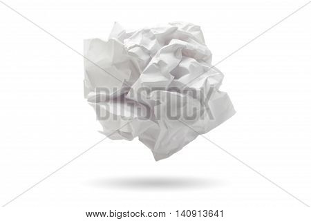 Paper ball, close-up of crumpled paper ball