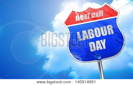labour day, 3D rendering, blue street sign
