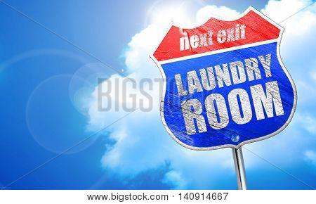 laundry room, 3D rendering, blue street sign
