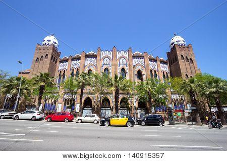 BARCELONA SPAIN - JUN 21 2016: Bullring and bullfighting arena Plaza Monumental de Barcelona (La Monumental).