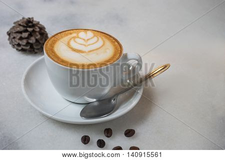 hot fresh coffee in white cup on wooden table and white saucer coffee bean cappuccino coffee mocha coffee espresso coffee latte coffee