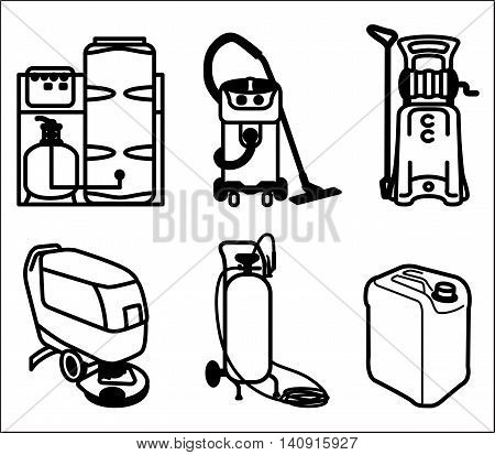 Black and white vector set outline icon of cleaning equipment