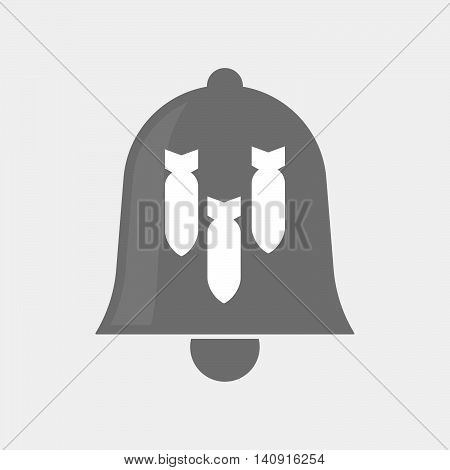 Isolated Bell Icon With Three Bombs Falling