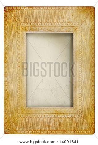 Vintage photo frame against white background