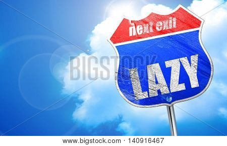 lazy, 3D rendering, blue street sign