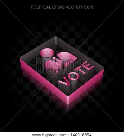Political icon: Crimson 3d Ballot made of paper tape on black background, transparent shadow, EPS 10 vector illustration.