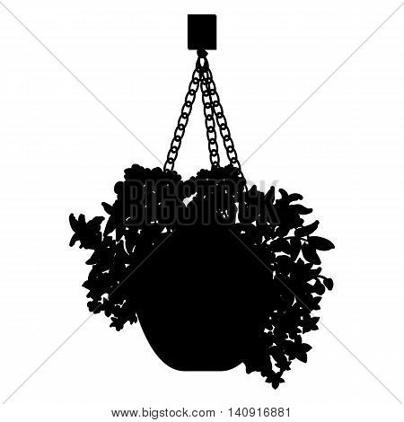 Vector black silhouette illustration of hanging pot with flowers. Floral arrangement.