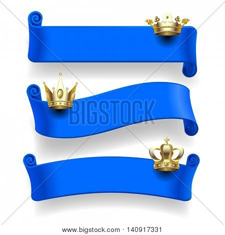 Set of blue ribbons with gold crowns isolated on white background. Vector illustration