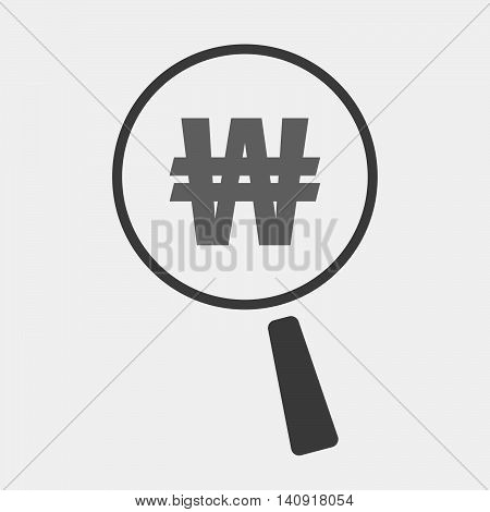 Isolated Magnifier Icon With A Won Currency Sign
