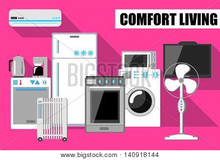 Comfort living vector illustration in flat style with house appliances. Set of house appliances icons. Flat vector kitchen. Home electronics white and grey vector image on pink background