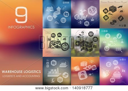 warehouse logistics vector infographics with unfocused blurred background