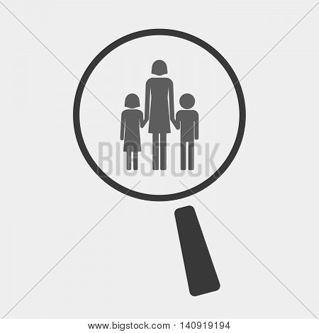 Isolated Magnifier Icon With A Female Single Parent Family Pictogram