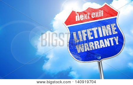 lifetime warranty, 3D rendering, blue street sign