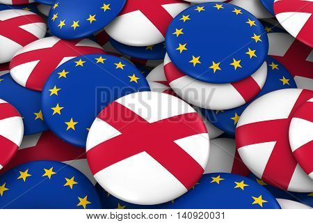 Northern Ireland And Europe Badges Background - Pile Of Northern Irish And European Flag Buttons 3D