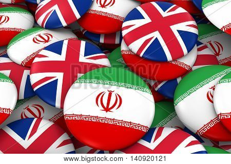 Iran And Uk Badges Background - Pile Of Iranian And British Flag Buttons 3D Illustration